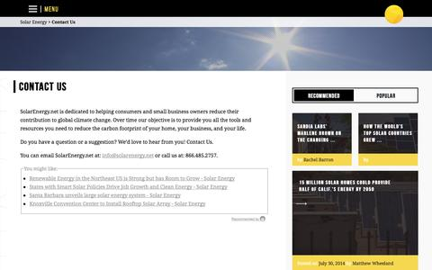 Screenshot of Contact Page solarenergy.net - Solar Energy | Contact Us - Solar Energy - captured Sept. 13, 2014