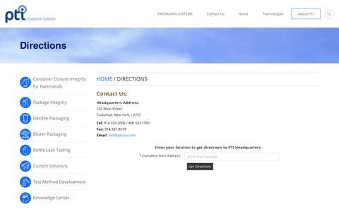 Screenshot of Maps & Directions Page ptiusa.com - ptiusa.com - captured July 12, 2017