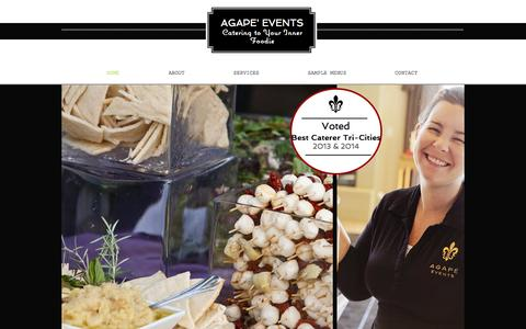 Screenshot of Home Page agapevents.com - Agape' Events Tri-Cities Caterer - captured Oct. 4, 2014
