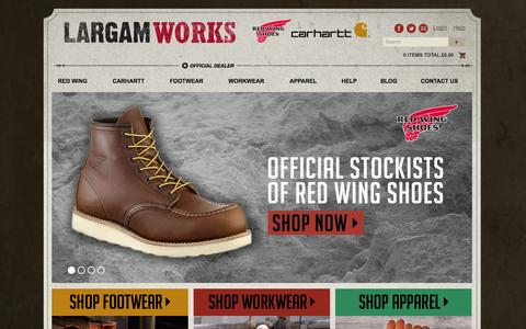 Screenshot of Home Page largam-redwingshoes.co.uk - Largam Works - Red Wing and Carhartt Workwear, Footwear and Accessories - captured Sept. 29, 2014