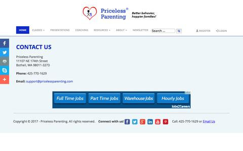 Screenshot of Contact Page pricelessparenting.com - Contact Us - Priceless Parenting - captured May 22, 2017