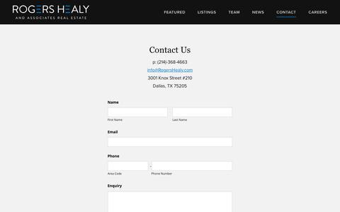 Screenshot of Contact Page rogershealy.com - Contact Us | Rogers Healy - Rogers Healy Residential - captured Feb. 6, 2019