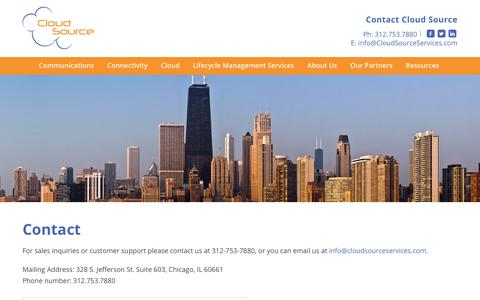 Screenshot of Contact Page cloudsourceservices.com - Contact Cloud Source - Communications, Cloud, & Connectivity Technology Consulting - Chicago, IL - captured Nov. 10, 2018