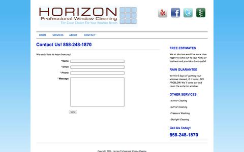 Screenshot of Contact Page sdprowindowcleaning.com - Horizon Professional Window Cleaners - captured Oct. 3, 2014