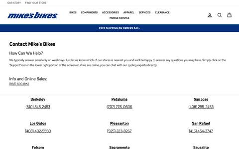 Screenshot of Contact Page mikesbikes.com - Contact Us  – Mike's Bikes - captured Feb. 22, 2020