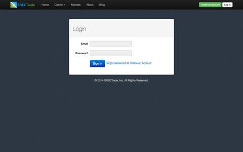 Screenshot of Login Page srectrade.com - Login | SRECTrade - captured Sept. 19, 2014