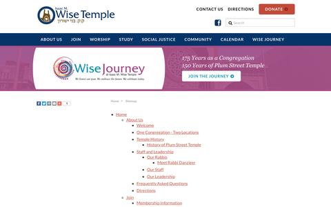 Screenshot of Site Map Page wisetemple.org - Sitemap - Wise Temple - captured Sept. 30, 2016