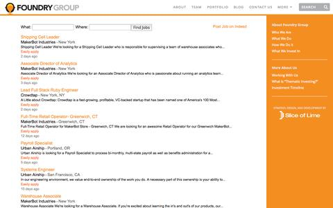 Screenshot of Jobs Page foundrygroup.com - Jobs | Foundry Group - captured Sept. 23, 2014
