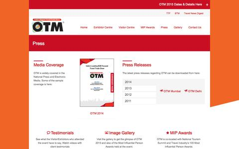 Screenshot of Press Page otm.co.in - Press | India's Largest Tourism Fair Network - captured Oct. 26, 2014