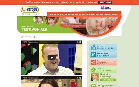 Screenshot of Testimonials Page u-gro.com - Testimonials | U-GRO - captured Oct. 3, 2014