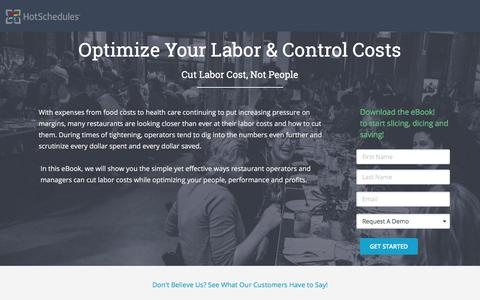 Screenshot of Landing Page hotschedules.com - Ebook - How to Optimize Your Labor - captured March 8, 2018