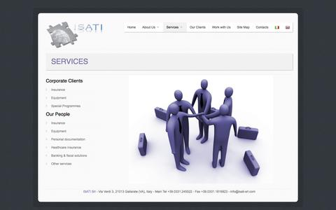 Screenshot of Services Page isati-srl.com - ISATI - International Solutions for the Aeronautical and Telecommunications Industries - captured Sept. 30, 2014