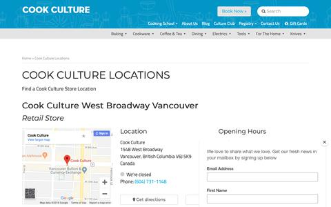 Screenshot of Locations Page cookculture.com - Cook Culture Locations - Cook Culture - captured Nov. 11, 2018