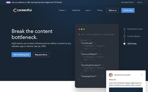 Screenshot of Home Page contentful.com - Contentful: Content Infrastructure for Digital Teams - captured July 13, 2018