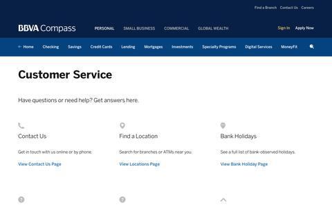 Screenshot of Support Page bbvacompass.com - Customer Service | BBVA Compass - captured May 31, 2017