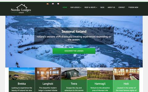 Screenshot of Home Page nordiclodges.com - Nordic Lodges Iceland - Holiday Homes in different parts of Iceland - captured Sept. 21, 2018