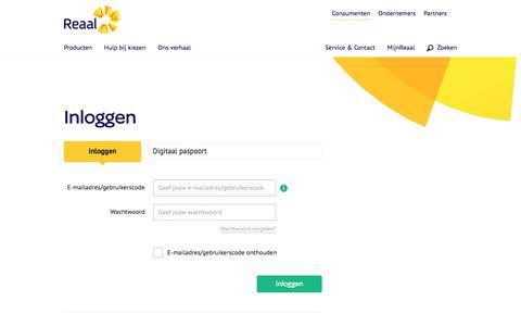 Screenshot of Login Page reaal.nl - Inloggen - Reaal - captured Jan. 19, 2020