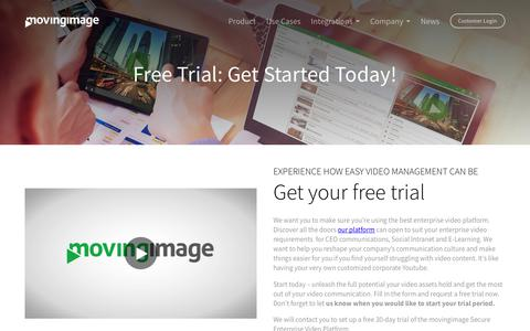 Screenshot of Trial Page movingimage.com - movingimage free trial: get your own your corporate youtube started today! : Movingimage - captured Nov. 7, 2017