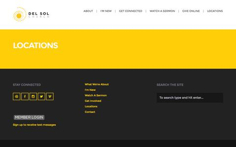 Screenshot of Locations Page delsolchurch.com - Locations | Del Sol Church - captured Oct. 29, 2014