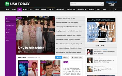 Screenshot of Team Page usatoday.com - Celebrity Photos, Videos and Interviews - USATODAY.com - captured Feb. 2, 2016