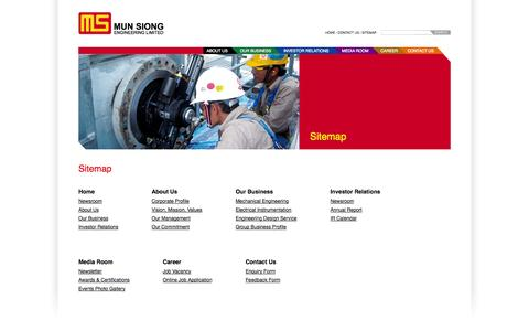 Screenshot of Site Map Page mun-siong.com - Mun Siong Engineering Limited - captured Oct. 26, 2014