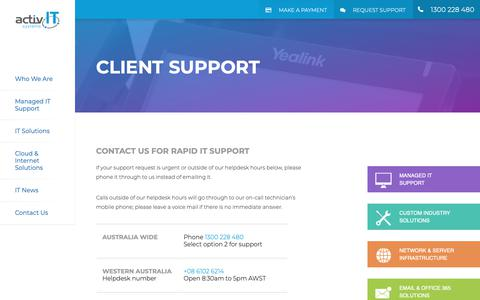Screenshot of Support Page aitsys.com.au - Client Support - activIT systems - captured Nov. 20, 2018