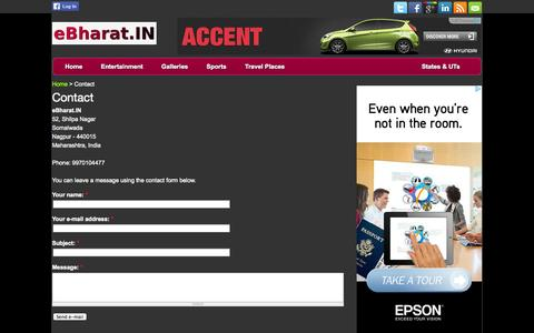 Screenshot of Contact Page ebharat.in - Contact | Bollywood News, Gossip, Movies, Trailers, Videos, Photos, Celebrities, TV Shows - eBharat Entertainment - captured Sept. 23, 2014