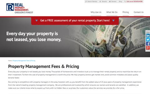 Screenshot of Pricing Page rpmoregonsfinest.com - Property Management Fees Portland OR | Real Property Management Oregons Finest - captured Feb. 14, 2016
