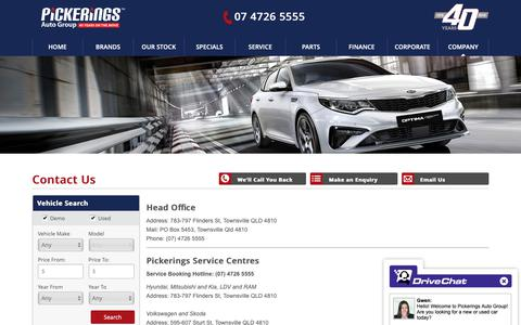 Screenshot of Contact Page pickerings.com.au - Pickerings Auto Group Townsville - Save on new and used cars - Pickerings Auto Group - captured Sept. 28, 2018