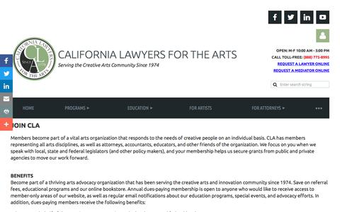 Screenshot of Signup Page calawyersforthearts.org - California Lawyers for the Arts - Join - captured Sept. 26, 2018