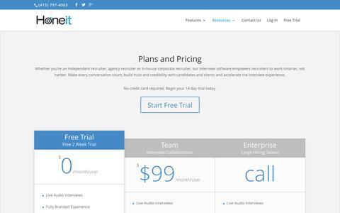 Screenshot of Pricing Page honeit.com - Pricing | Real-time Interview Software | Honeit.com - captured Dec. 12, 2015
