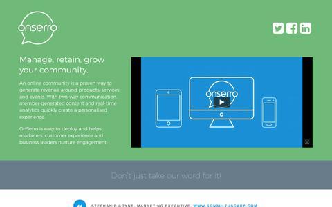 Screenshot of Home Page onserro.com - OnSerro – Next gen. community engagement - captured Oct. 13, 2017