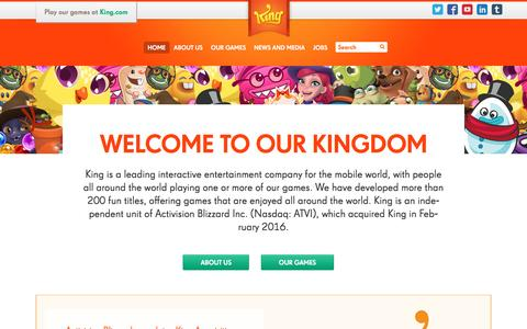 Screenshot of About Page king.com - Home | King - captured Aug. 20, 2016