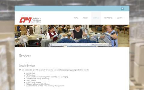 Screenshot of Services Page conpack.com - Services  –   Contract Packaging Associates - captured Dec. 15, 2018
