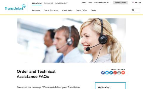 Screenshot of Support Page transunion.com - Order and Technical Assistance FAQs | TransUnion - captured Oct. 24, 2018