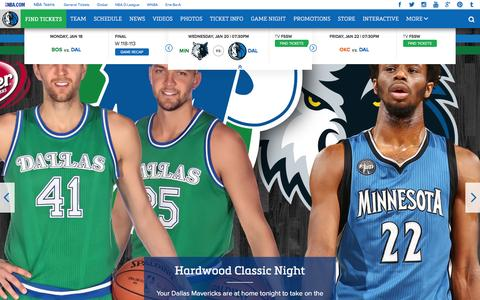 Screenshot of Home Page mavs.com - Home - Official Website of the Dallas Mavericks - captured Jan. 20, 2016