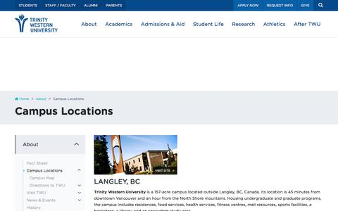 Screenshot of Locations Page twu.ca - Campus Locations | Trinity Western University - captured June 30, 2017