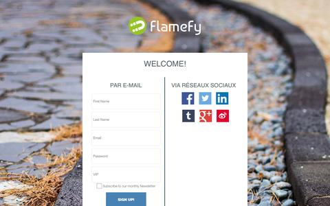 Screenshot of Signup Page flamefy.com - FlameFy, know your audience to engage it smartly! - captured Aug. 3, 2015