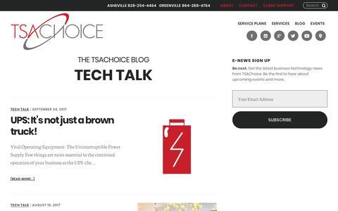 Screenshot of Blog tsachoice.com - Tech Talk Archives | TSAChoice - captured Oct. 26, 2017