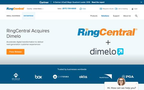 Screenshot of ringcentral.com - #1 Cloud Communications Solution for Enterprise | RingCentral - captured Dec. 9, 2018