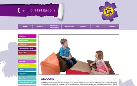 Screenshot of Home Page sportandplaybase.co.uk - Childrens Carpets | Giant Classroom Carpets | Pretend play | Sport and PlaybaseSport and Playbase | We manufacture material based learning products for leading retailers, wholesalers and distributors of education material worldwide. - captured Oct. 6, 2014