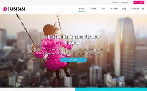 Screenshot of Home Page causecast.com - Home - captured Sept. 2, 2016
