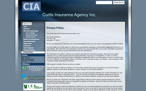 Screenshot of Privacy Page curtisinsuranceagency.net - Privacy Policy - Curtis Insurance Agency - captured Oct. 3, 2014
