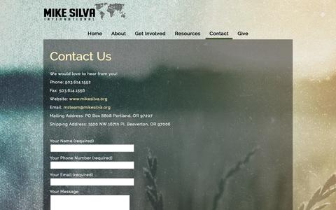 Screenshot of Contact Page mikesilva.org - Contact «  Mike Silva International - captured Oct. 7, 2014