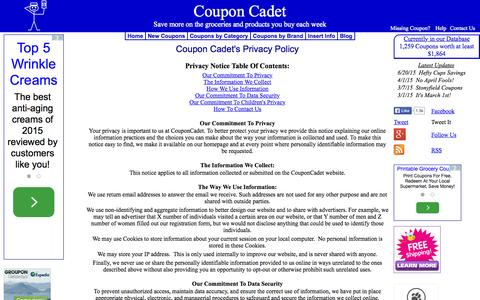 Screenshot of couponcadet.com - Coupon Cadet - Privacy Policy - captured Oct. 3, 2015