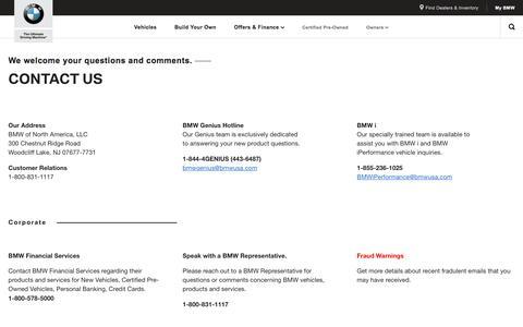 Screenshot of Contact Page bmwusa.com - Contact Us - BMW North America - captured July 3, 2018