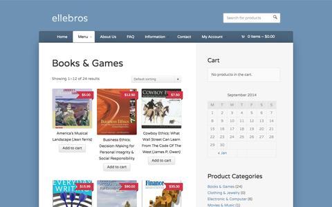 Screenshot of Menu Page ellebros.com - Books & Games Archives | ellebrosellebros - captured Sept. 30, 2014
