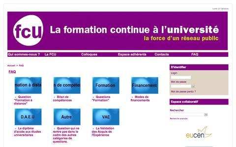 Screenshot of FAQ Page fcu.fr - FAQ | Formation Continue Universitaire - captured Oct. 27, 2014