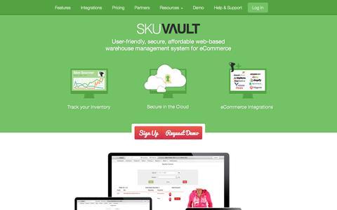 Screenshot of Home Page skuvault.com - SkuVault Warehouse Management System · Home - captured Sept. 24, 2014