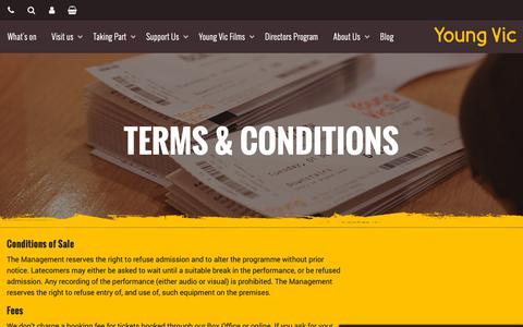 Screenshot of Terms Page youngvic.org - Terms & Conditions | Young Vic website - captured Nov. 7, 2018